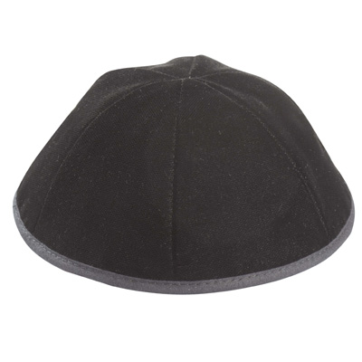 Altman™ Black Shiny Washable Kippah - 6 Parts w/ Rim
