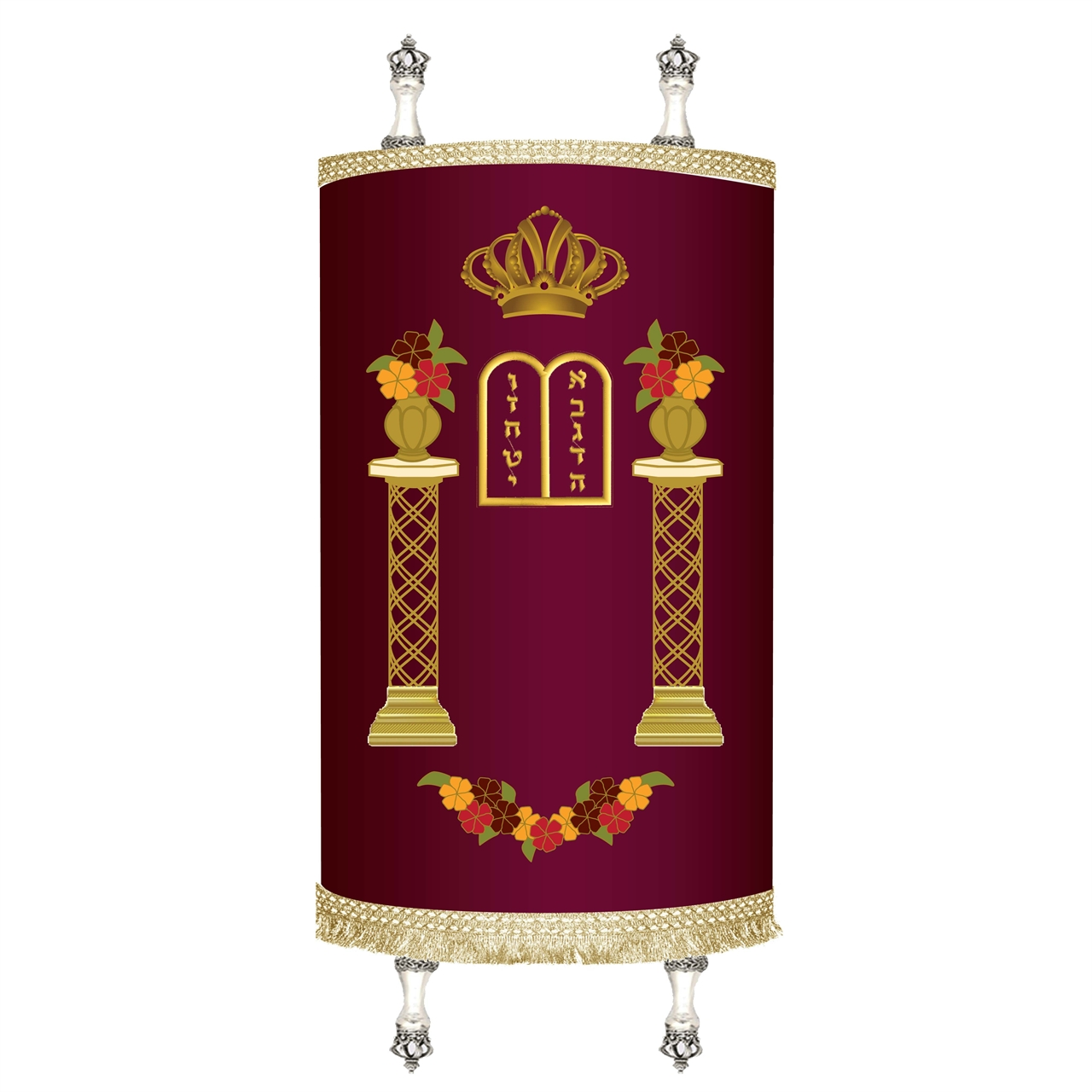 Torah Cover - Flower Pillars