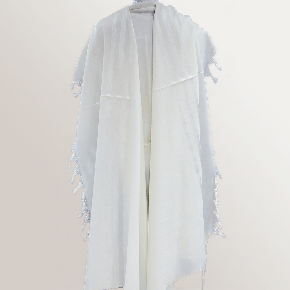 """Wool A.A."" Tallit With White Stripes Mishkan Hatchelet™"