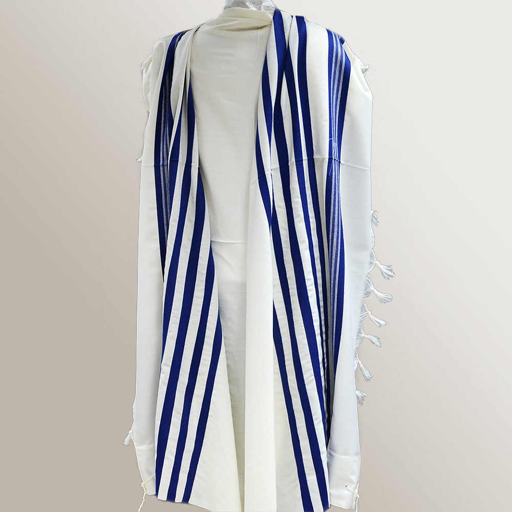 """Wool A.A."" Tallit With Blue Stripes Mishkan Hatchelet™"