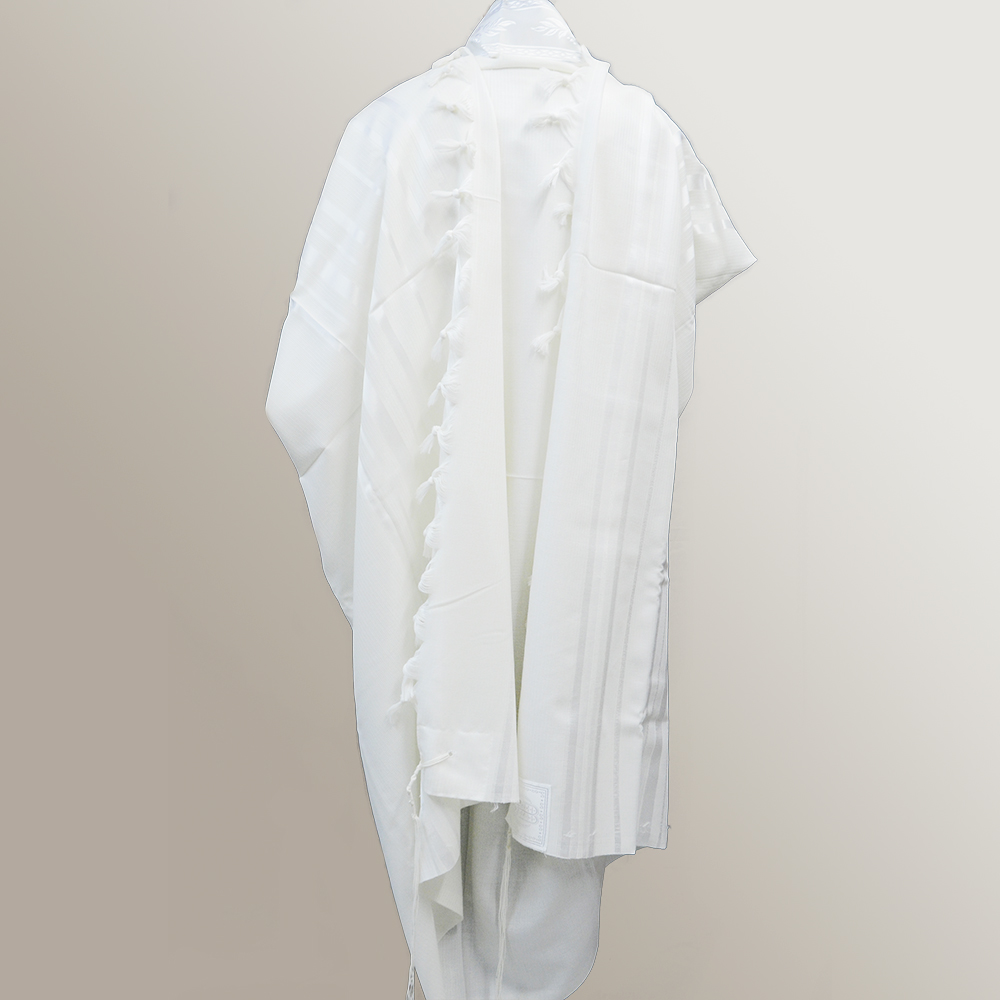 """Tashbetz"" Wool Tallit With White Stripes Mishkan Hatchelet™"