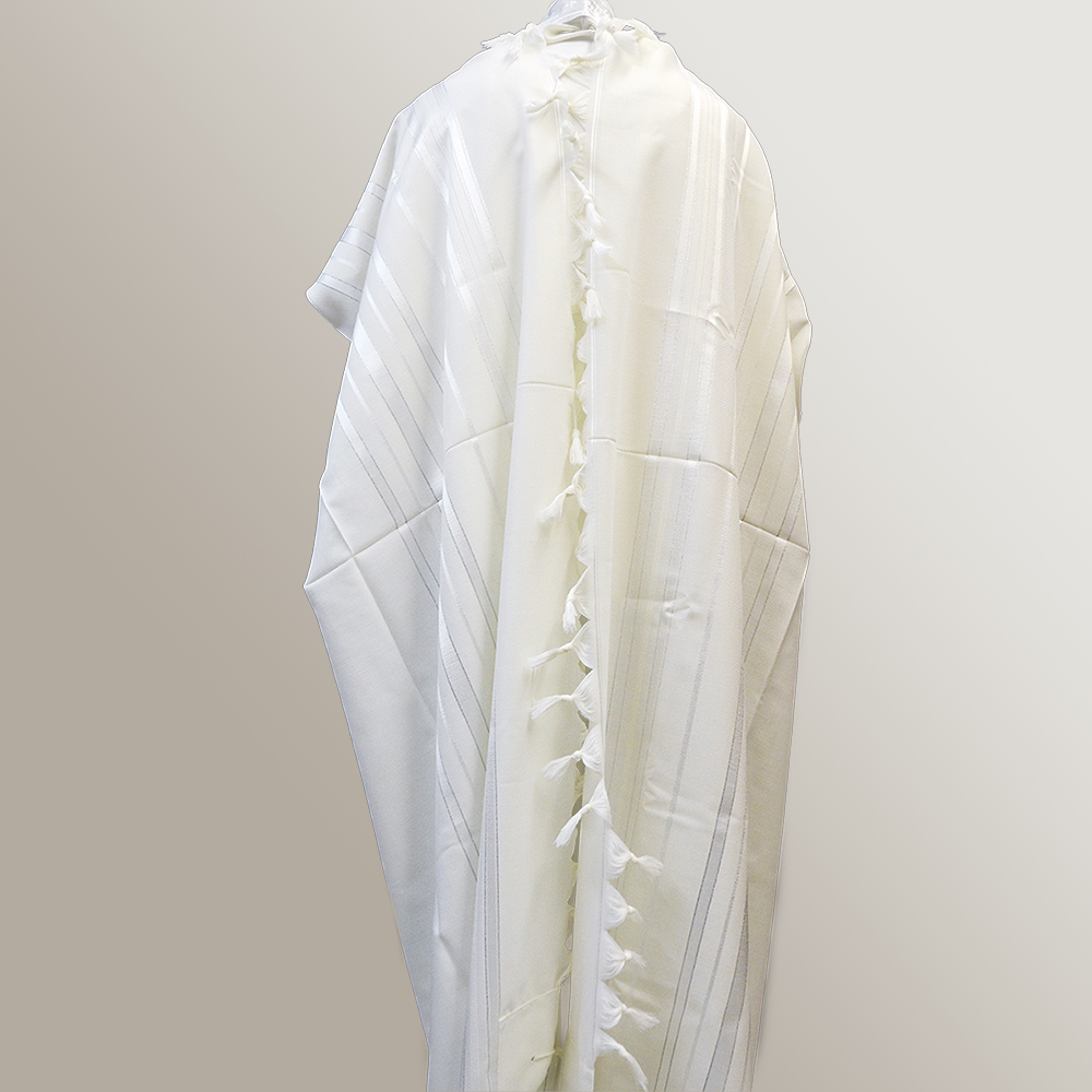 """Tashbetz"" Wool Tallit With Silver Stripes Mishkan Hatchelet™"