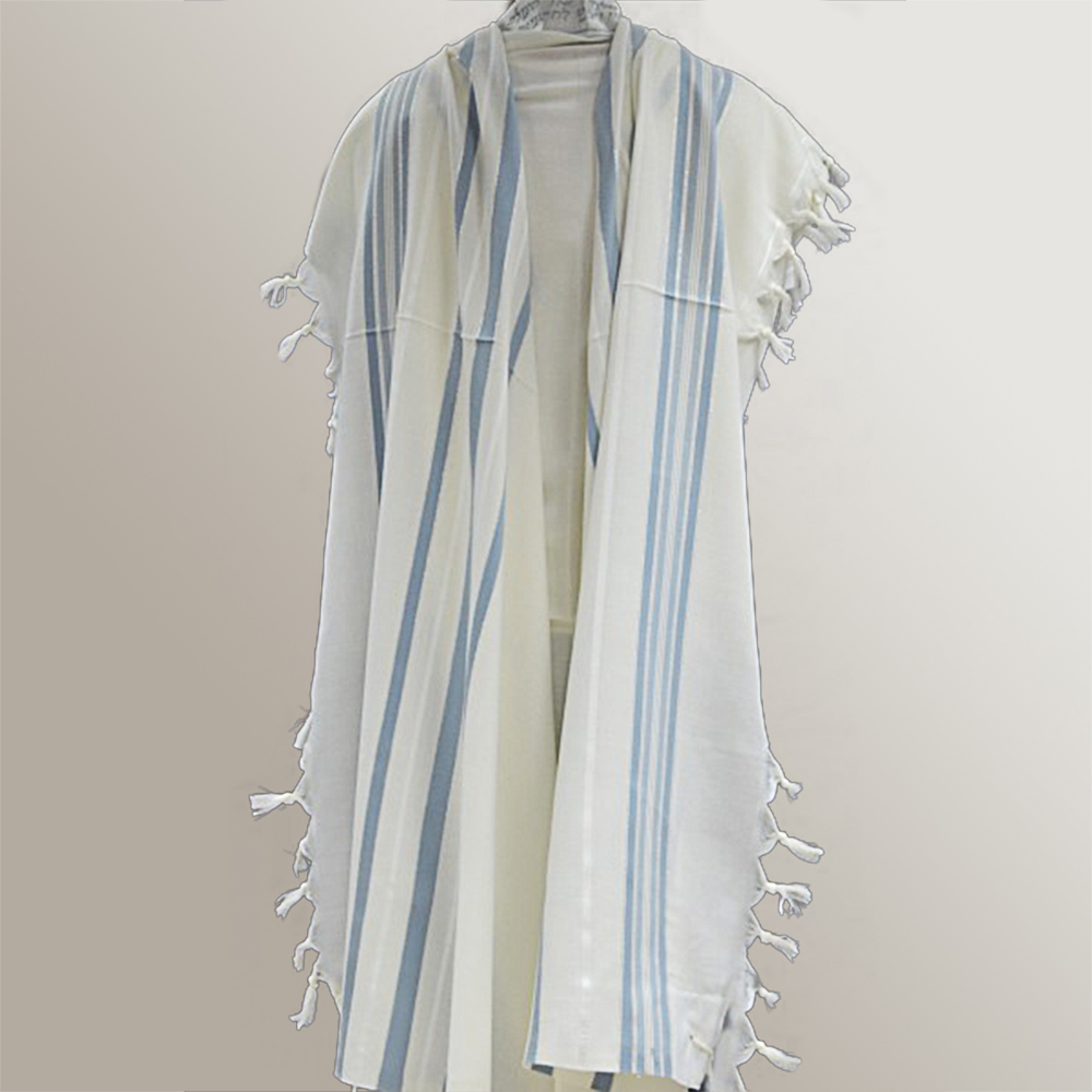 """Tashbetz"" Wool Tallit With Light Blue & Silver Stripes Mishkan Hatchelet™"