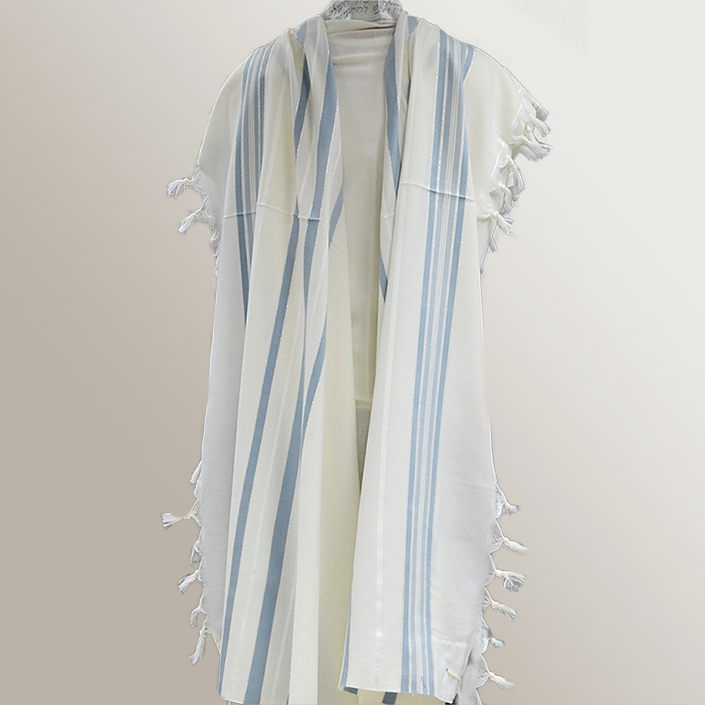 """Ma'alot"" Wool Tallit With Light Blue & Silver Stripes Mishkan Hatchelet™"