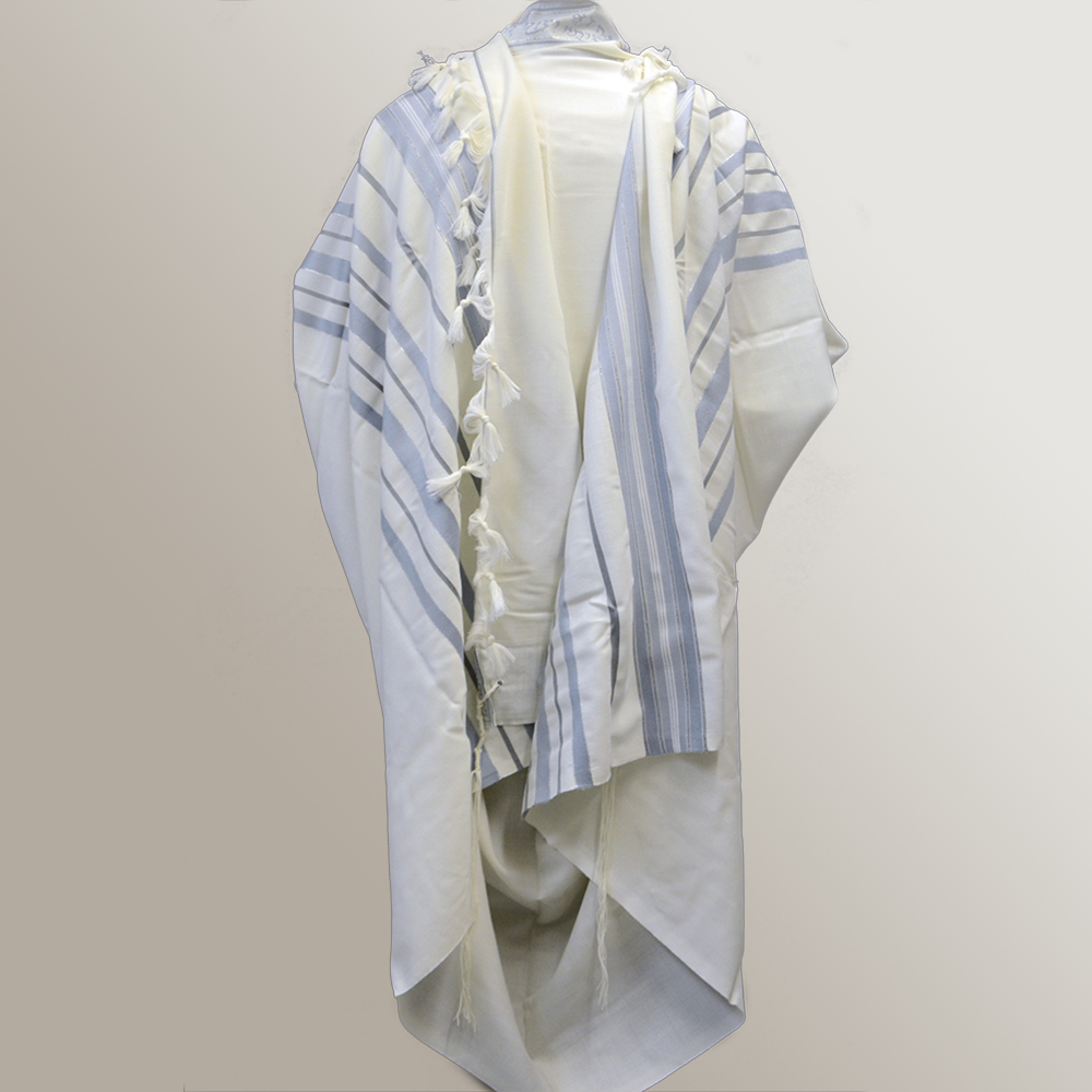 """Ma'alot"" Wool Tallit With Light Blue Grey & Silver Stripes Mishkan Hatchelet™"