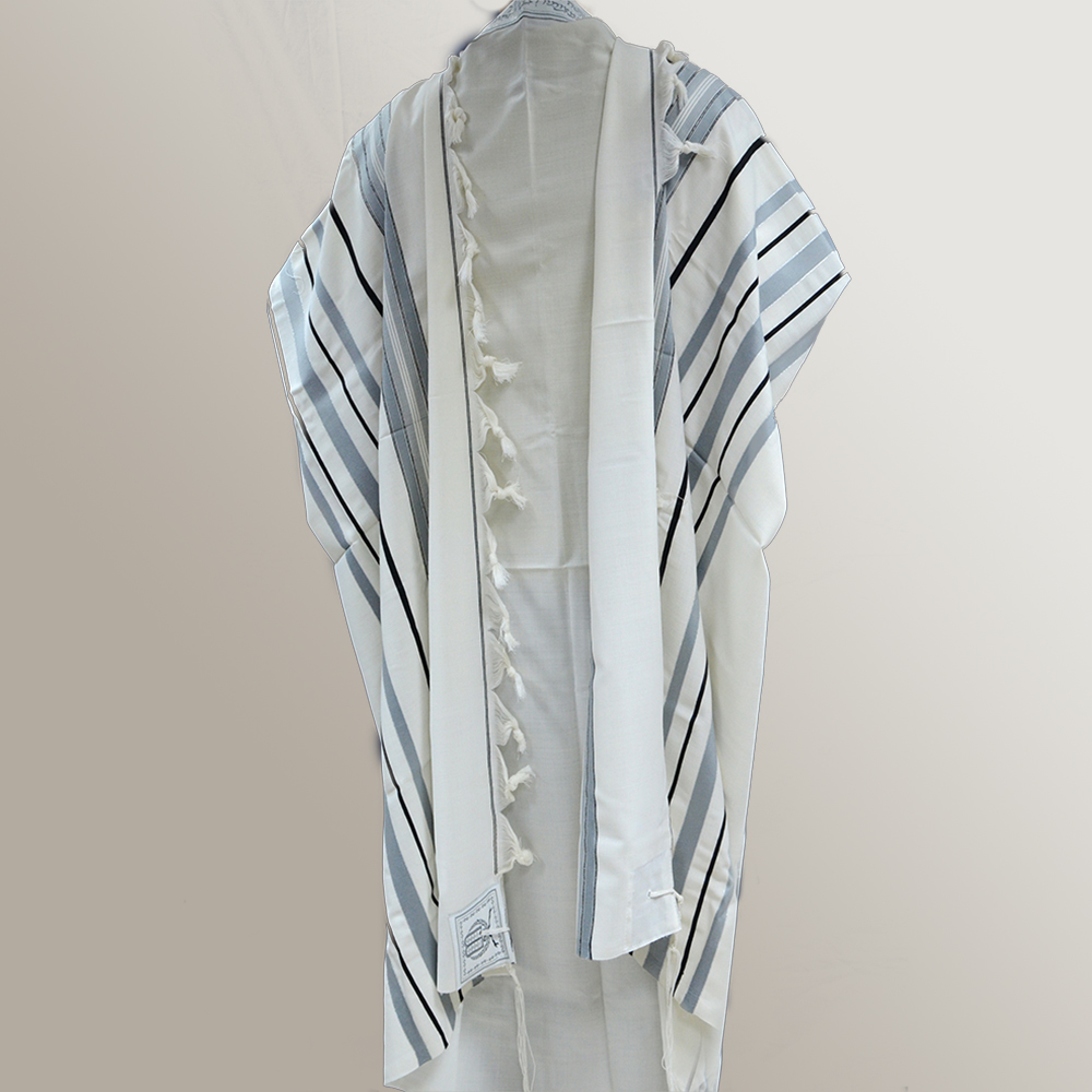"""Ma'alot"" Wool Tallit With Gray Black & Silver Stripes Mishkan Hatchelet™"