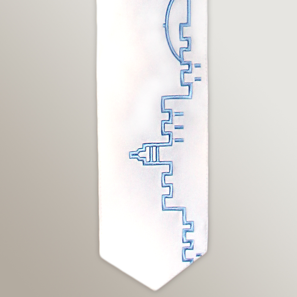 Atara-Embroidery with Jerusalem Walls in Light Blue